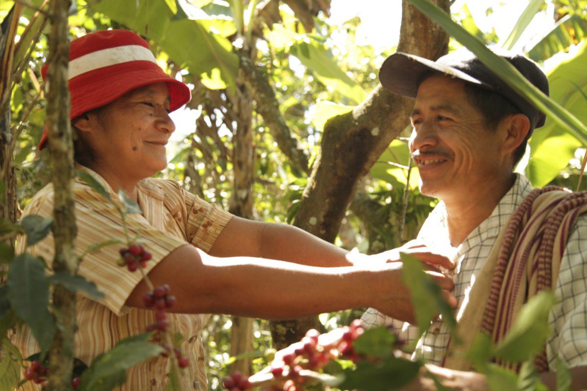 en mann og dame som smiler i naturen
